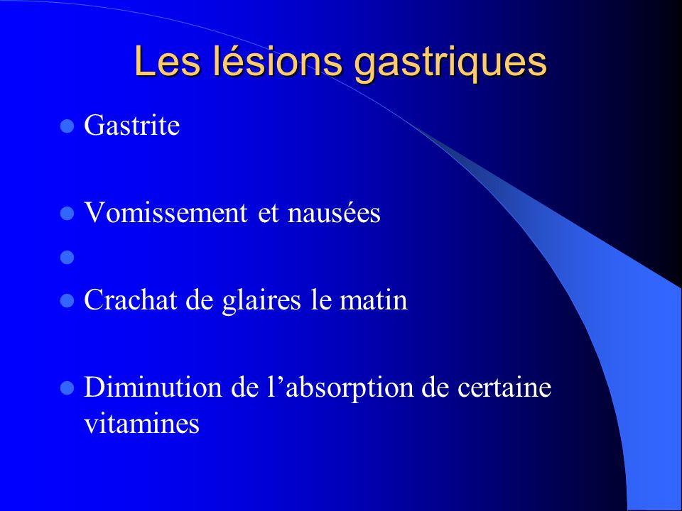 Les lésions gastriques Gastrite Vomissement et nausées Crachat de glaires le matin Diminution de labsorption de certaine vitamines
