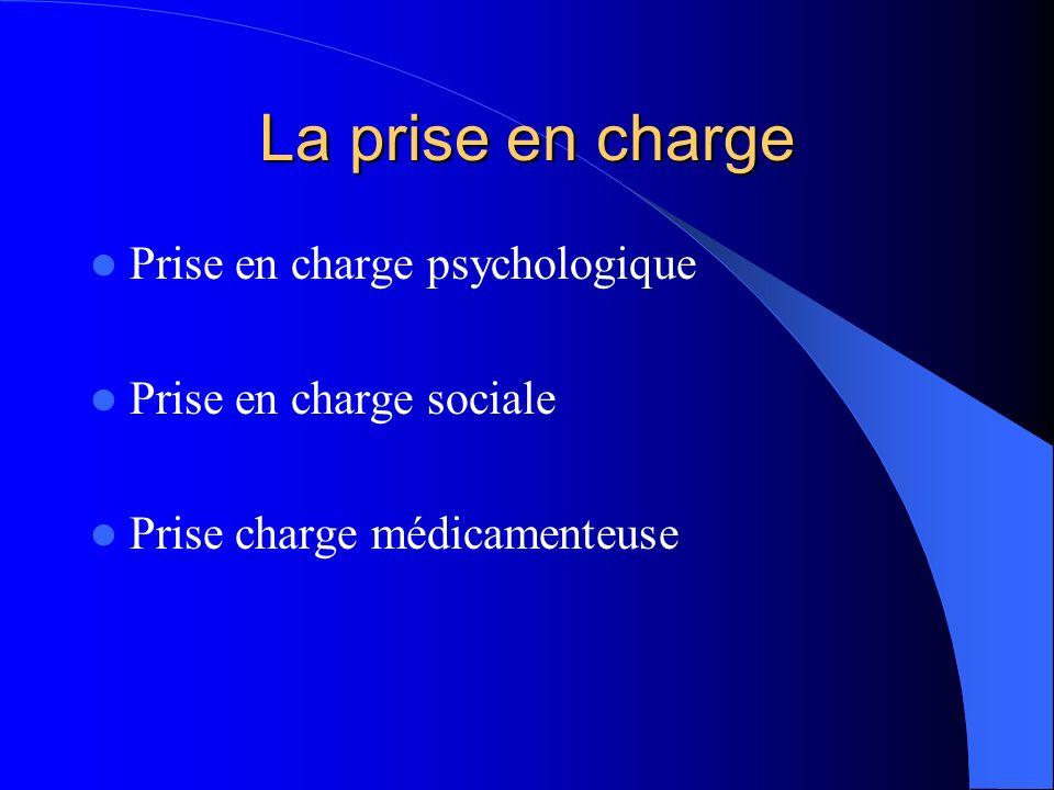 La prise en charge Prise en charge psychologique Prise en charge sociale Prise charge médicamenteuse