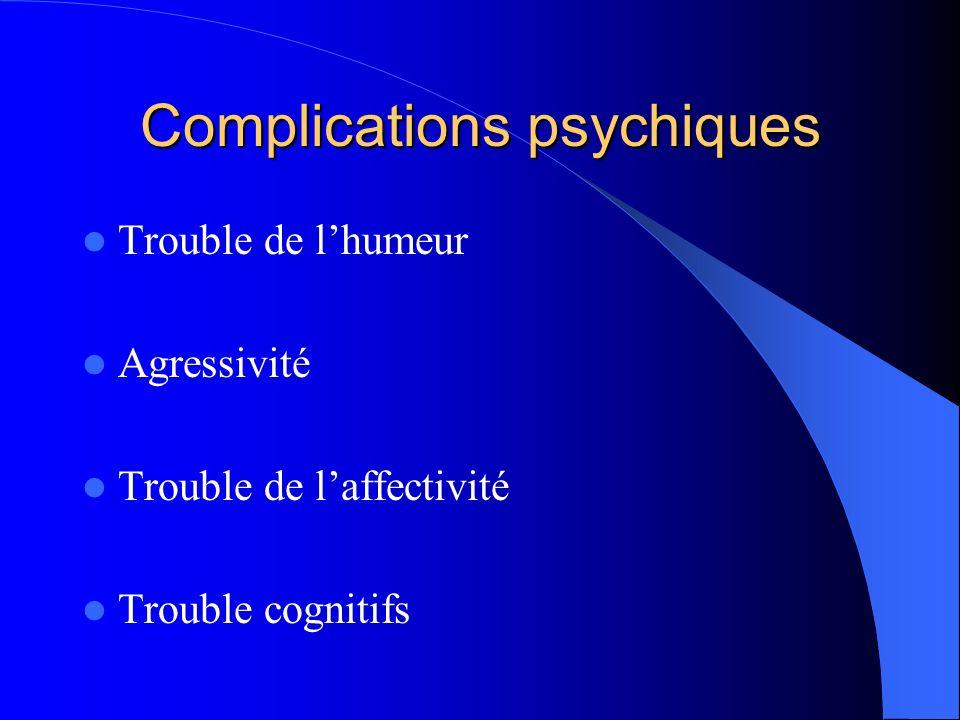 Complications psychiques Trouble de lhumeur Agressivité Trouble de laffectivité Trouble cognitifs