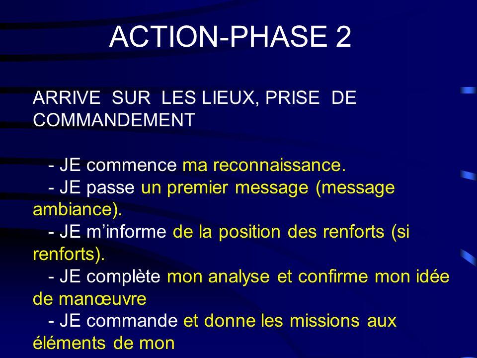 ACTION-PHASE 2 ARRIVE SUR LES LIEUX, PRISE DE COMMANDEMENT - JE commence ma reconnaissance. - JE passe un premier message (message ambiance). - JE min