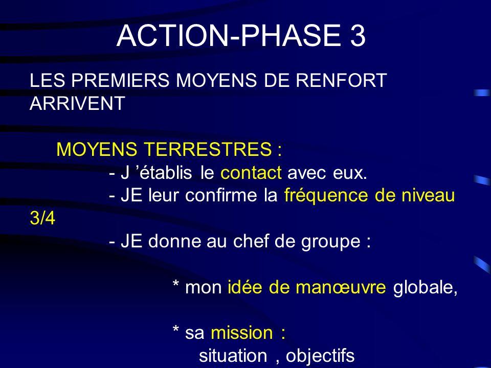 ACTION-PHASE 3 LES PREMIERS MOYENS DE RENFORT ARRIVENT MOYENS TERRESTRES : - J établis le contact avec eux. - JE leur confirme la fréquence de niveau