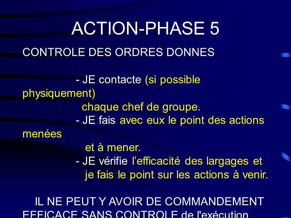 ACTION-PHASE 5 CONTROLE DES ORDRES DONNES - JE contacte (si possible physiquement) chaque chef de groupe. - JE fais avec eux le point des actions mené