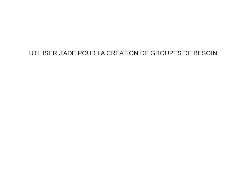 UTILISER JADE POUR LA CREATION DE GROUPES DE BESOIN
