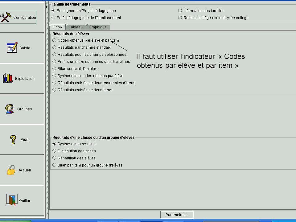 Il faut utiliser lindicateur « Codes obtenus par élève et par item »