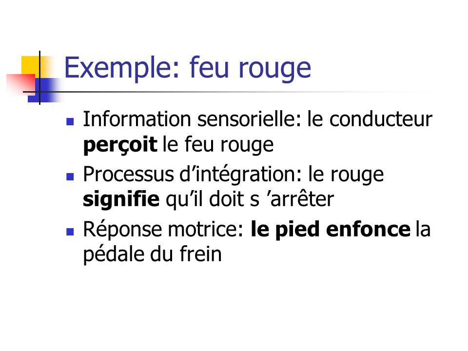 Exemple: feu rouge Information sensorielle: le conducteur perçoit le feu rouge Processus dintégration: le rouge signifie quil doit s arrêter Réponse motrice: le pied enfonce la pédale du frein