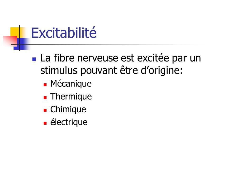 Excitabilité La fibre nerveuse est excitée par un stimulus pouvant être dorigine: Mécanique Thermique Chimique électrique