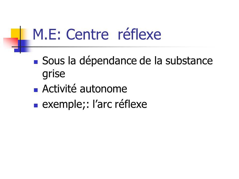 M.E: Centre réflexe Sous la dépendance de la substance grise Activité autonome exemple;: larc réflexe