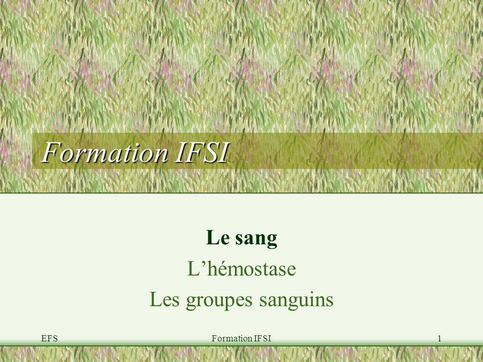 EFSFormation IFSI1 Le sang Lhémostase Les groupes sanguins