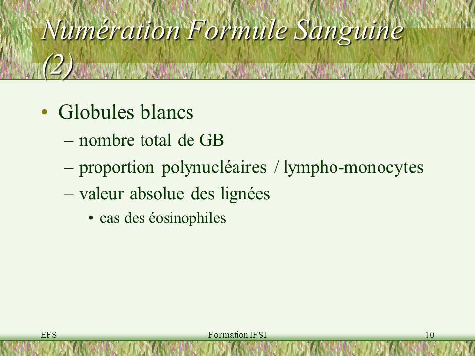 EFSFormation IFSI10 Numération Formule Sanguine (2) Globules blancs –nombre total de GB –proportion polynucléaires / lympho-monocytes –valeur absolue des lignées cas des éosinophiles