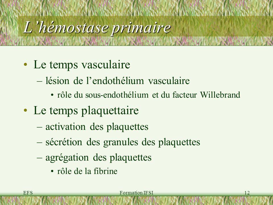 EFSFormation IFSI12 Lhémostase primaire Le temps vasculaire –lésion de lendothélium vasculaire rôle du sous-endothélium et du facteur Willebrand Le temps plaquettaire –activation des plaquettes –sécrétion des granules des plaquettes –agrégation des plaquettes rôle de la fibrine