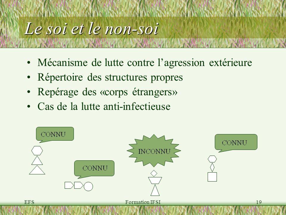 EFSFormation IFSI19 Le soi et le non-soi Mécanisme de lutte contre lagression extérieure Répertoire des structures propres Repérage des «corps étrangers» Cas de la lutte anti-infectieuse