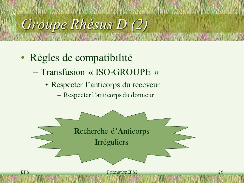 EFSFormation IFSI26 Groupe Rhésus D (2) Règles de compatibilité –Transfusion « ISO-GROUPE » Respecter lanticorps du receveur –Respecter lanticorps du donneur Recherche dAnticorps Irréguliers