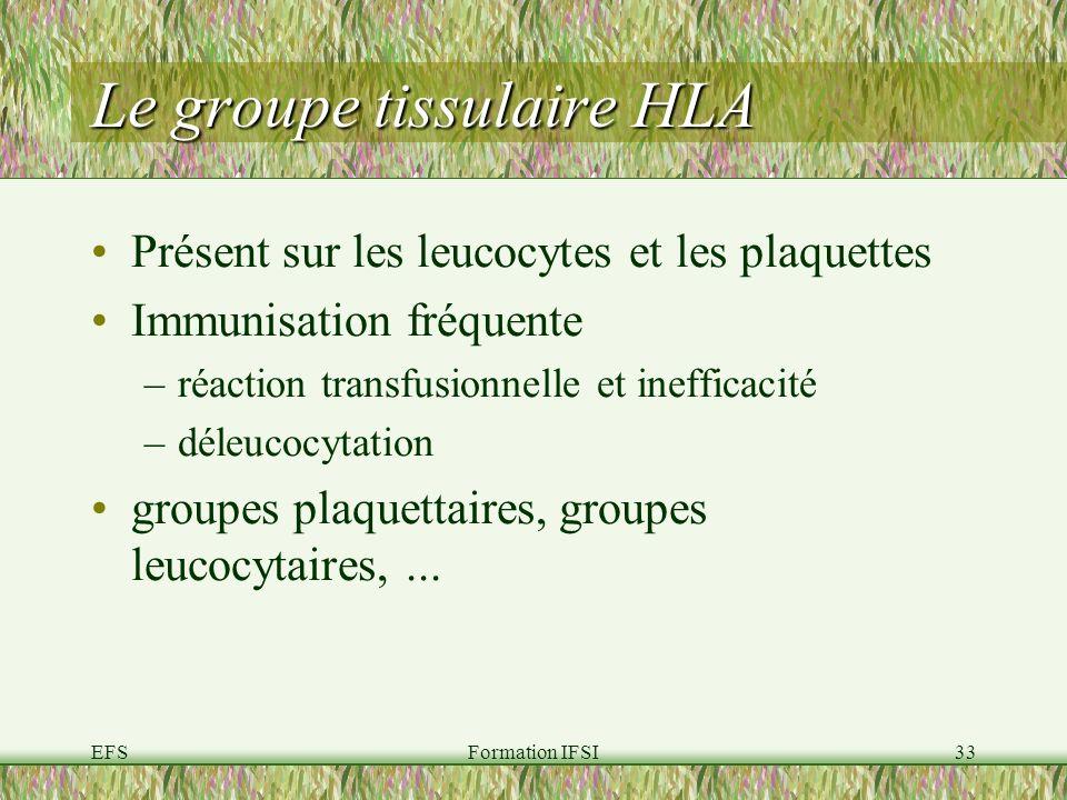 EFSFormation IFSI33 Le groupe tissulaire HLA Présent sur les leucocytes et les plaquettes Immunisation fréquente –réaction transfusionnelle et inefficacité –déleucocytation groupes plaquettaires, groupes leucocytaires,...
