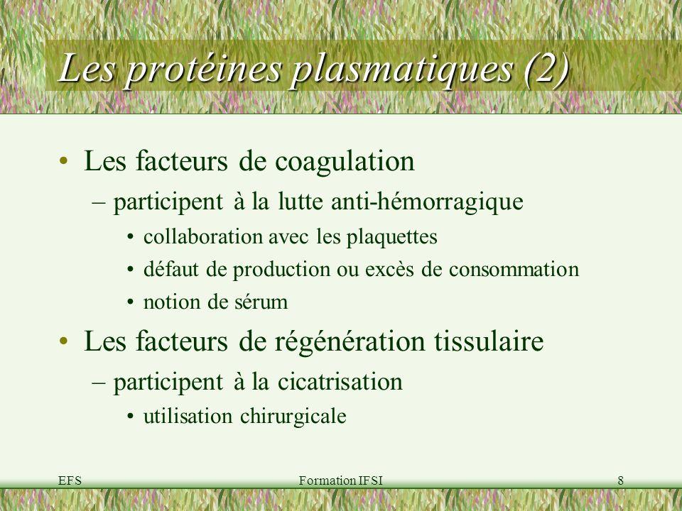 EFSFormation IFSI8 Les protéines plasmatiques (2) Les facteurs de coagulation –participent à la lutte anti-hémorragique collaboration avec les plaquettes défaut de production ou excès de consommation notion de sérum Les facteurs de régénération tissulaire –participent à la cicatrisation utilisation chirurgicale