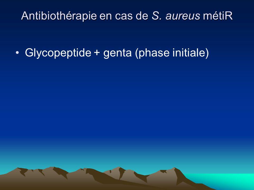 Antibiothérapie en cas de S. aureus métiR Glycopeptide + genta (phase initiale)