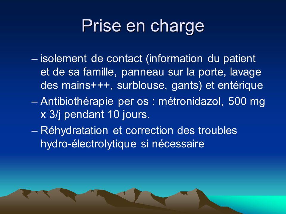 Prise en charge –isolement de contact (information du patient et de sa famille, panneau sur la porte, lavage des mains+++, surblouse, gants) et entéri