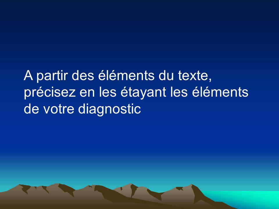 A partir des éléments du texte, précisez en les étayant les éléments de votre diagnostic