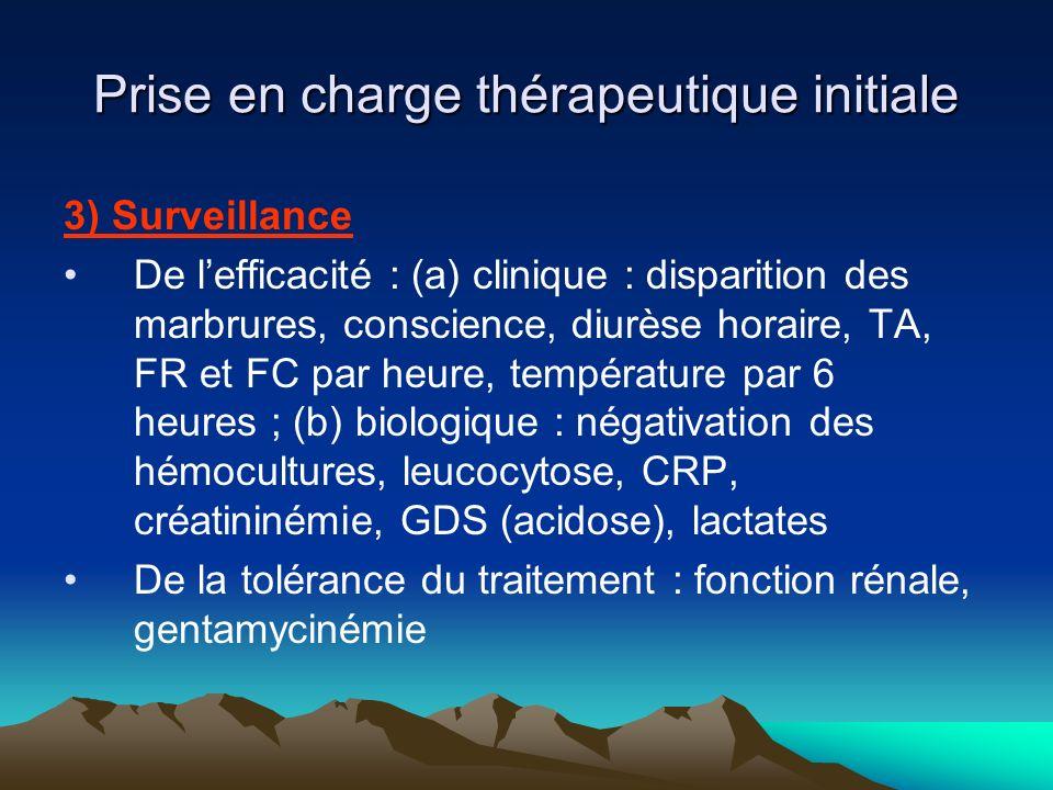 Prise en charge thérapeutique initiale 4) Autres éléments Prévention des complications de décubitus Immobilisation au lit (sepsis sévère, suspicion de spondylodiscite) Antipyrétiques, antalgiques