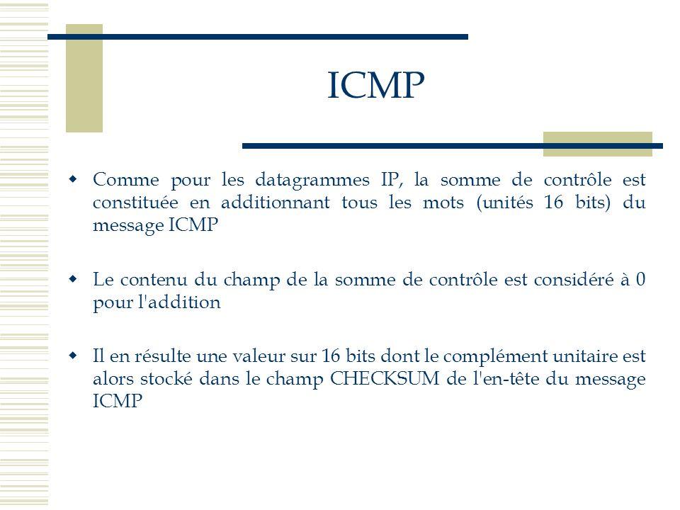 ICMP Comme pour les datagrammes IP, la somme de contrôle est constituée en additionnant tous les mots (unités 16 bits) du message ICMP Le contenu du c