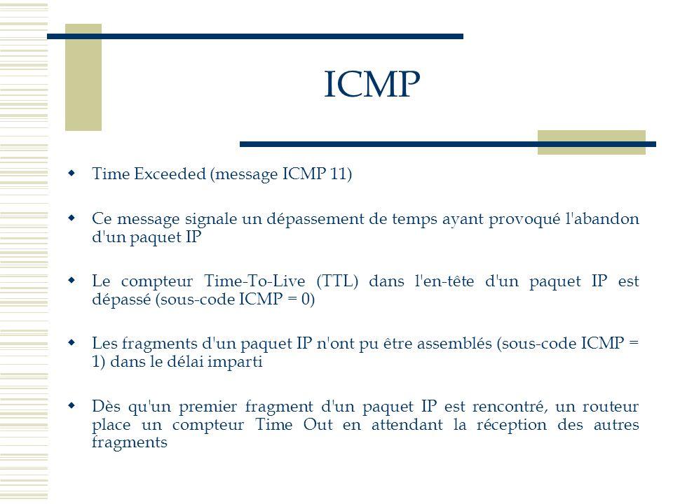 Time Exceeded (message ICMP 11) Ce message signale un dépassement de temps ayant provoqué l'abandon d'un paquet IP Le compteur Time-To-Live (TTL) dans