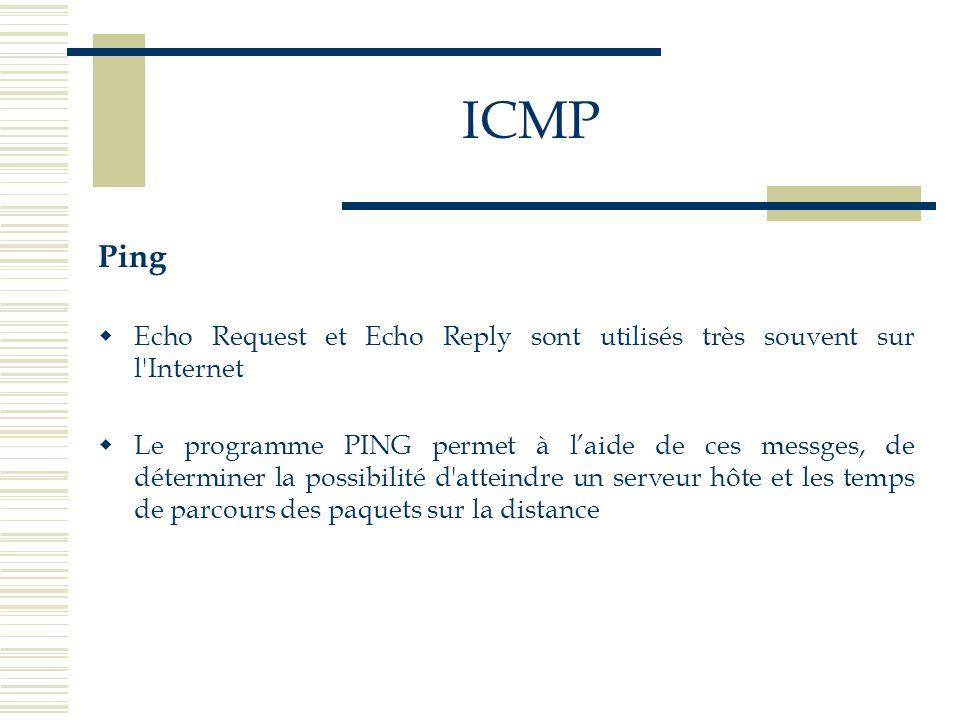 Ping Echo Request et Echo Reply sont utilisés très souvent sur l'Internet Le programme PING permet à laide de ces messges, de déterminer la possibilit
