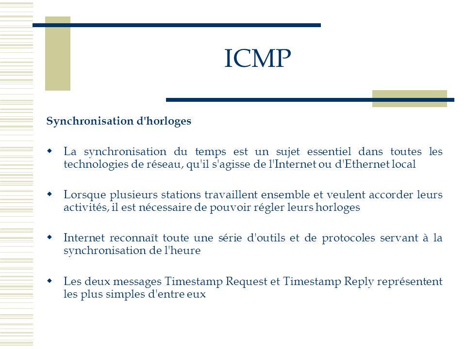 ICMP Synchronisation d'horloges La synchronisation du temps est un sujet essentiel dans toutes les technologies de réseau, qu'il s'agisse de l'Interne