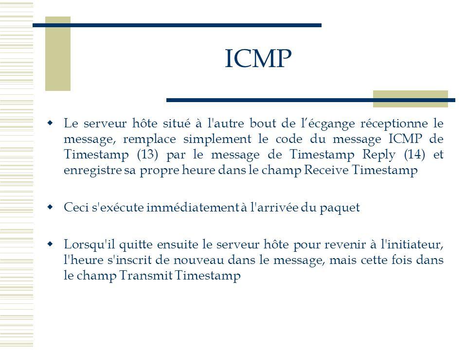 ICMP Le serveur hôte situé à l'autre bout de lécgange réceptionne le message, remplace simplement le code du message ICMP de Timestamp (13) par le mes