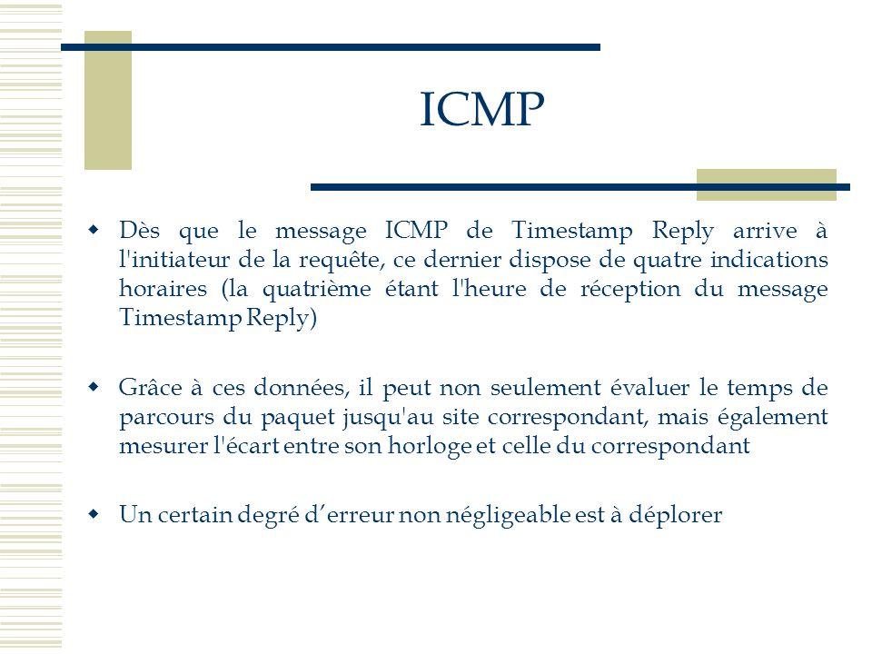 ICMP Dès que le message ICMP de Timestamp Reply arrive à l'initiateur de la requête, ce dernier dispose de quatre indications horaires (la quatrième é