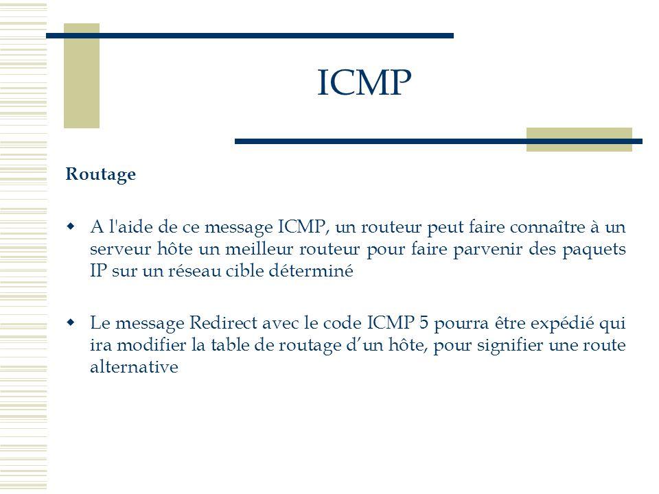 Routage A l'aide de ce message ICMP, un routeur peut faire connaître à un serveur hôte un meilleur routeur pour faire parvenir des paquets IP sur un r