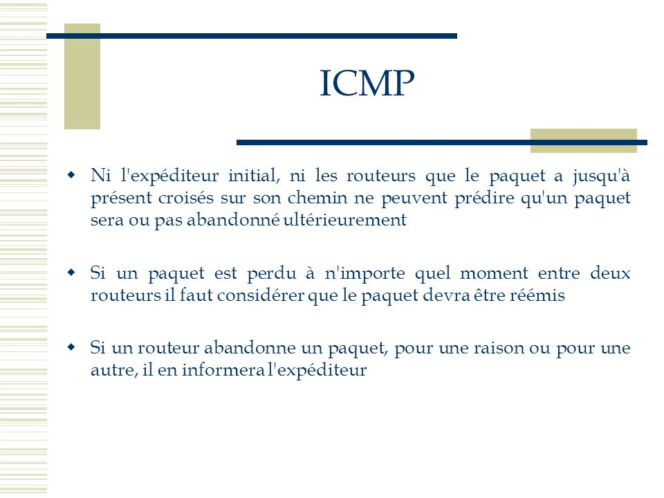 ICMP Le datagramme contenant le message ICMP est envoyé à lémetteur dorigine Il nest pas envoyé au routeur précédent, ni à la destination Le message derreur peut se perdre et dans ce cas, les protocoles de couches supérieures devront gérer le problème