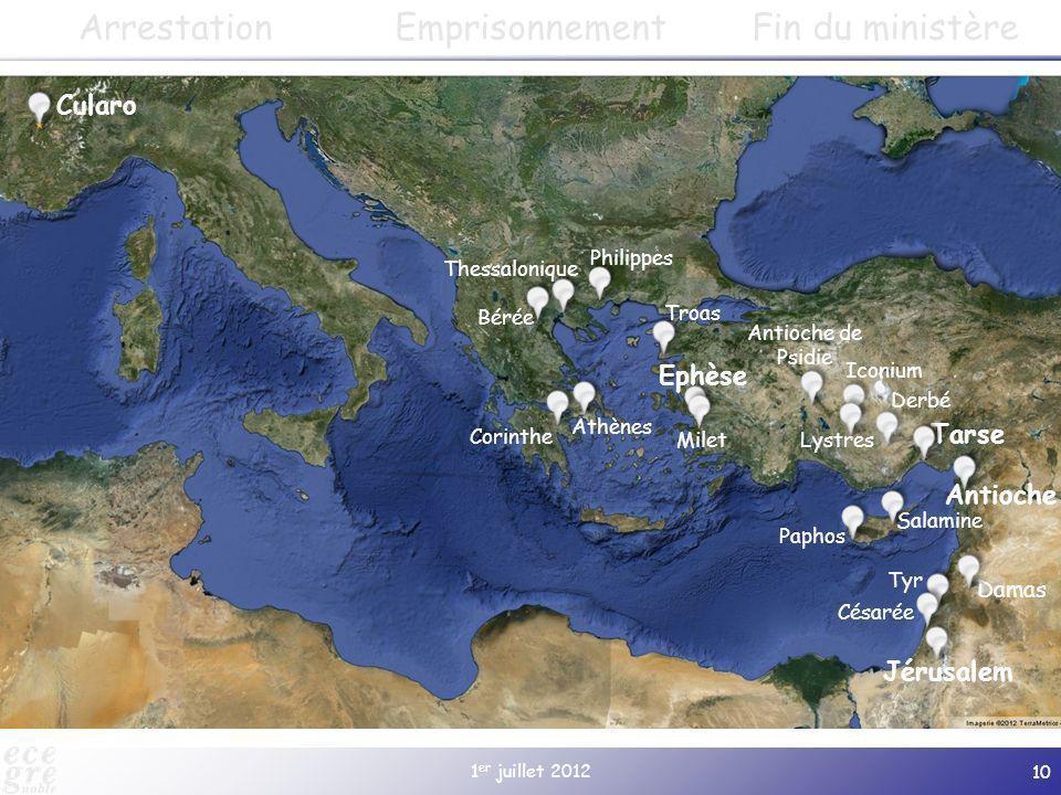 1 er juillet 2012 10 Cularo Paphos Salamine Jérusalem Antioche Damas Tarse Derbé Lystres Iconium Antioche de Psidie Gratianopolis (à partir de 381) Ep