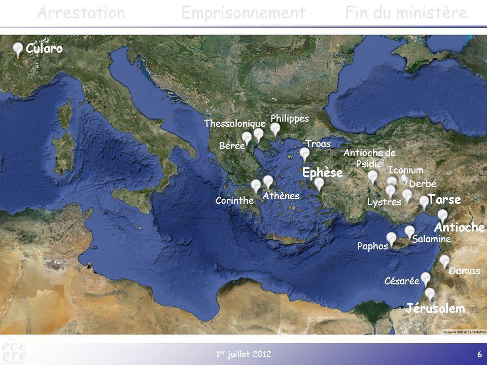 1 er juillet 2012 6 Cularo Paphos Salamine Jérusalem Antioche Damas Tarse Derbé Lystres Iconium Antioche de Psidie Gratianopolis (à partir de 381) Eph