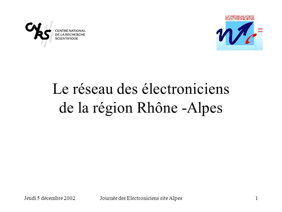 Jeudi 5 décembre 2002Journée des Electroniciens site Alpes1 Le réseau des électroniciens de la région Rhône -Alpes