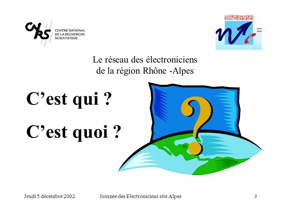 Jeudi 5 décembre 2002Journée des Electroniciens site Alpes3 Le réseau des électroniciens de la région Rhône -Alpes Cest quoi ? Cest qui ?