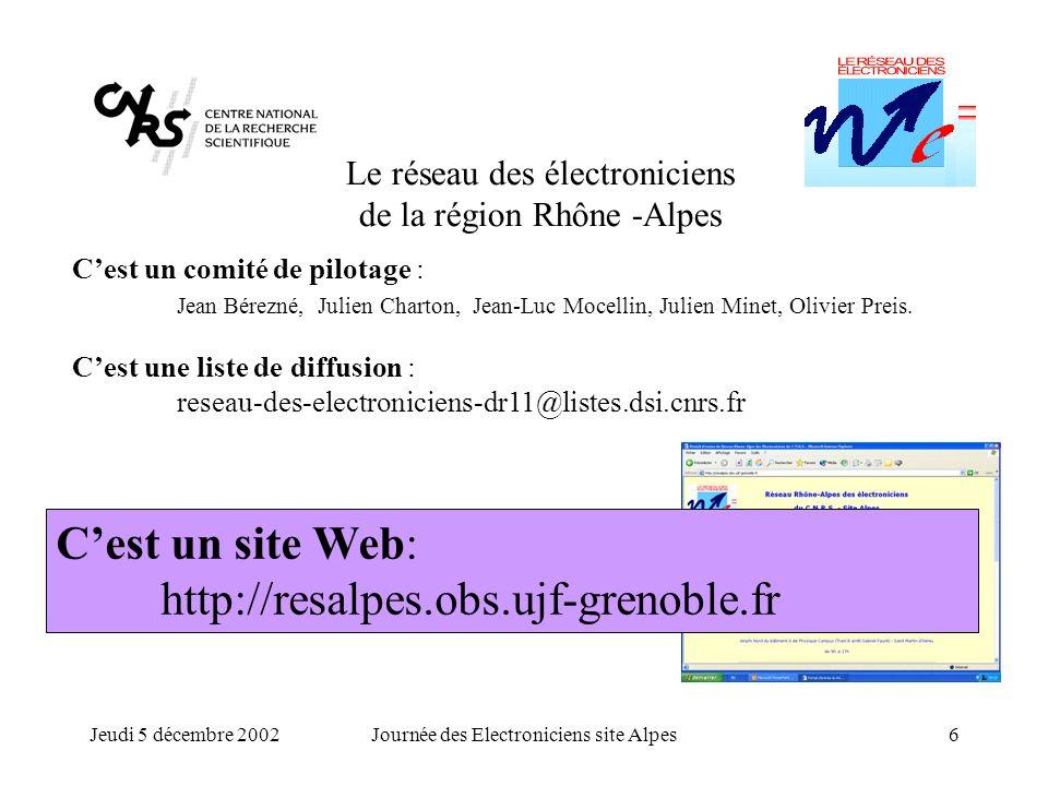 Jeudi 5 décembre 2002Journée des Electroniciens site Alpes7 Le réseau des électroniciens de la région Rhône -Alpes Cest un comité de pilotage : Jean Bérezné, Julien Charton, Jean-Luc Mocellin, Julien Minet, Olivier Preis.