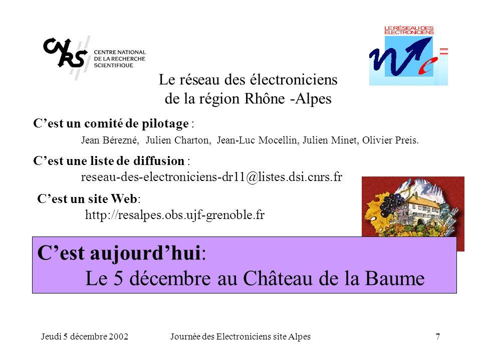 Jeudi 5 décembre 2002Journée des Electroniciens site Alpes7 Le réseau des électroniciens de la région Rhône -Alpes Cest un comité de pilotage : Jean B