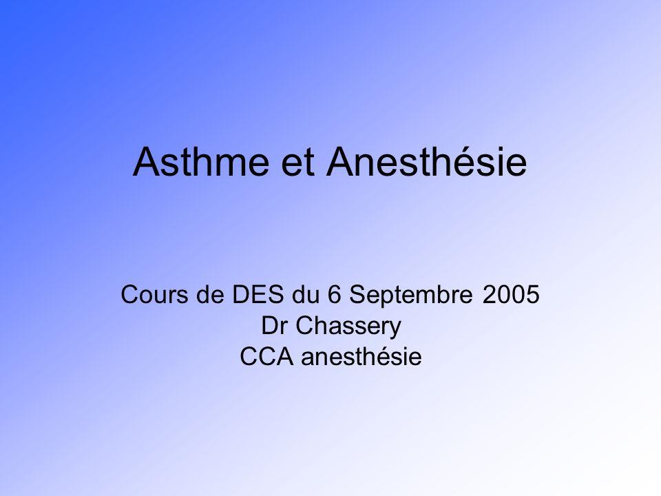 Asthme et Anesthésie Cours de DES du 6 Septembre 2005 Dr Chassery CCA anesthésie