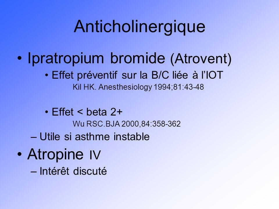 Anticholinergique Ipratropium bromide (Atrovent) Effet préventif sur la B/C liée à lIOT Kil HK. Anesthesiology 1994;81:43-48 Effet < beta 2+ Wu RSC.BJ