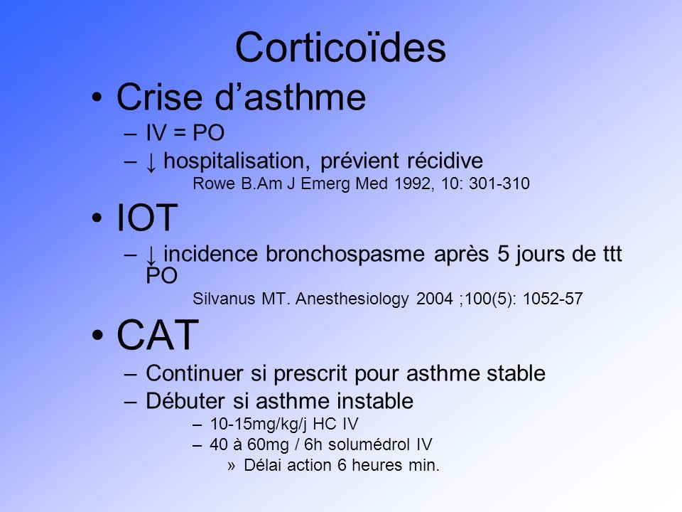 Corticoïdes Crise dasthme –IV = PO – hospitalisation, prévient récidive Rowe B.Am J Emerg Med 1992, 10: 301-310 IOT – incidence bronchospasme après 5