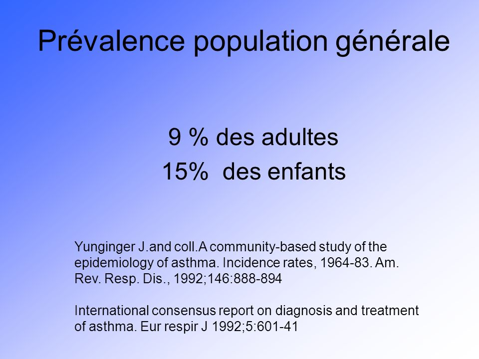 Prévalence population générale 9 % des adultes 15% des enfants Yunginger J.and coll.A community-based study of the epidemiology of asthma. Incidence r