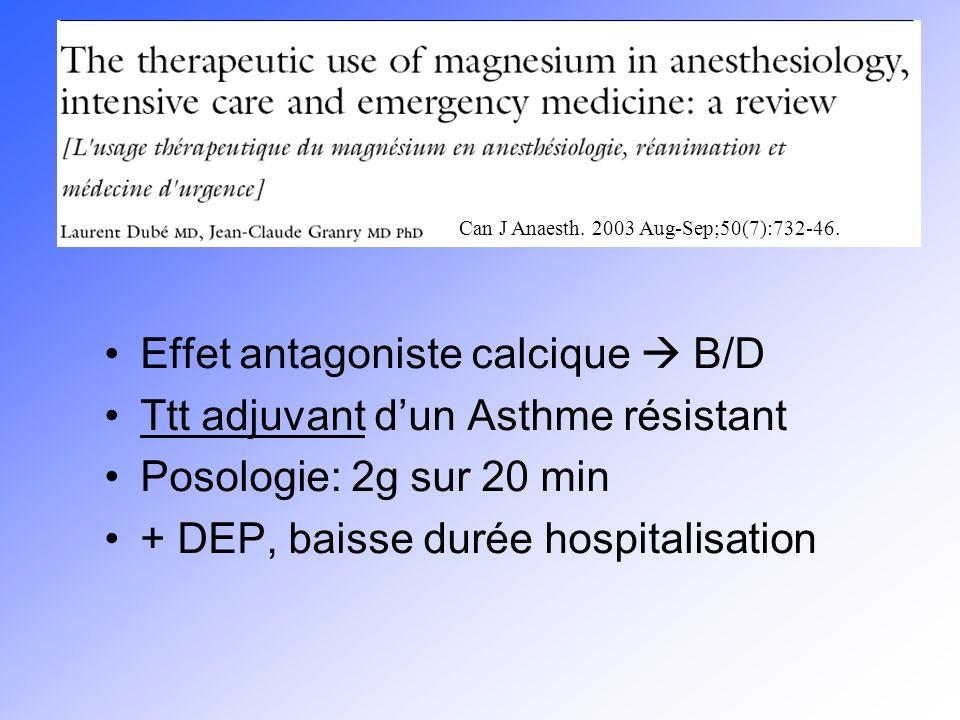 Effet antagoniste calcique B/D Ttt adjuvant dun Asthme résistant Posologie: 2g sur 20 min + DEP, baisse durée hospitalisation Can J Anaesth. 2003 Aug-