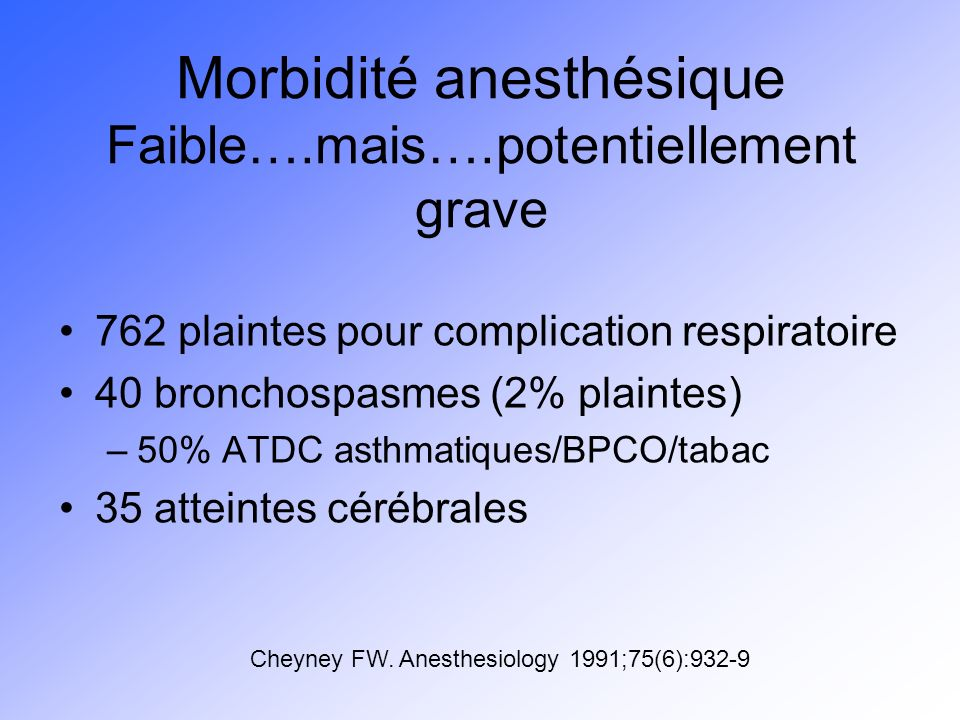 Morbidité anesthésique « persons with asthma but no symtoms are at low risk for severe morbidity from anesthesia » « persons with asthma are, however, at a low but increased risk for severe morbidity » Adverse outcomes from bronchospasm occur in patients with no previous history of asthma » Bishop MJ, Cheney FW.