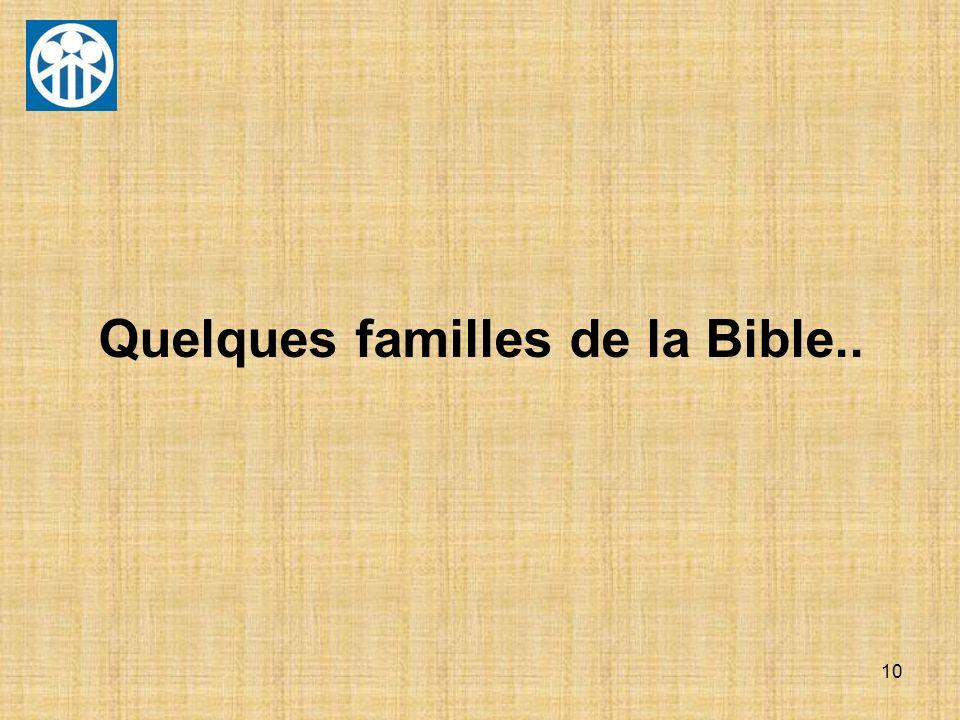 10 Quelques familles de la Bible..