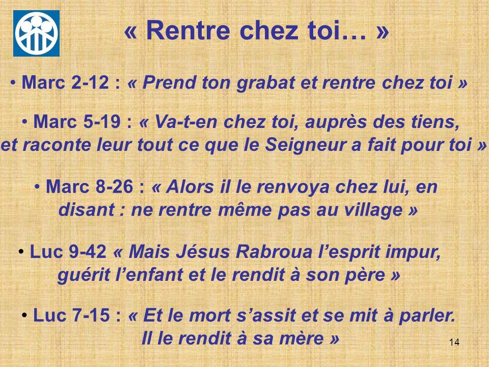 14 Marc 2-12 : « Prend ton grabat et rentre chez toi » Marc 5-19 : « Va-t-en chez toi, auprès des tiens, et raconte leur tout ce que le Seigneur a fai