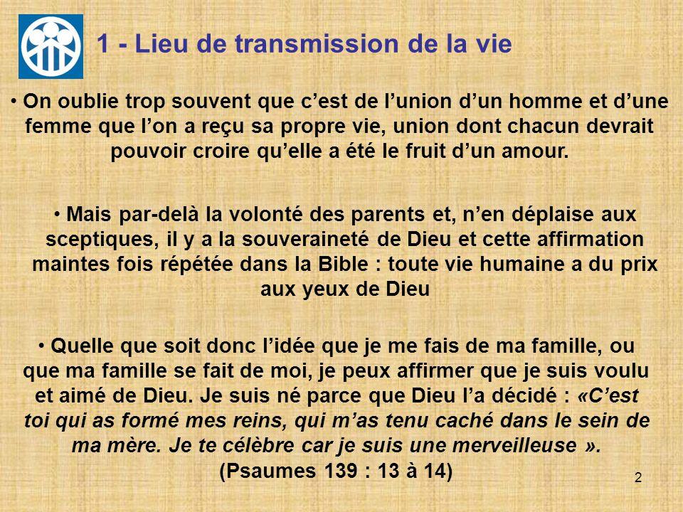 2 1 - Lieu de transmission de la vie Mais par-delà la volonté des parents et, nen déplaise aux sceptiques, il y a la souveraineté de Dieu et cette aff