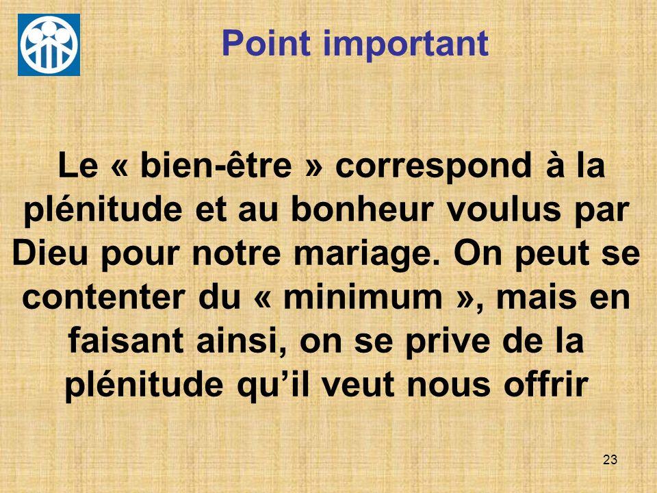 23 Point important Le « bien-être » correspond à la plénitude et au bonheur voulus par Dieu pour notre mariage. On peut se contenter du « minimum », m