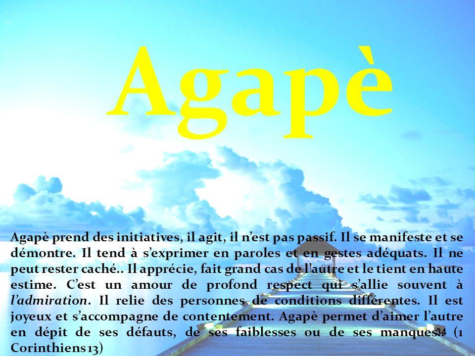 34 Agapè prend des initiatives, il agit, il nest pas passif. Il se manifeste et se démontre. Il tend à sexprimer en paroles et en gestes adéquats. Il