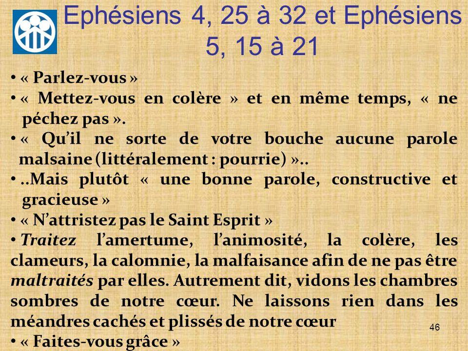 Ephésiens 4, 25 à 32 et Ephésiens 5, 15 à 21 46 « Parlez-vous » « Mettez-vous en colère » et en même temps, « ne péchez pas ». « Quil ne sorte de votr