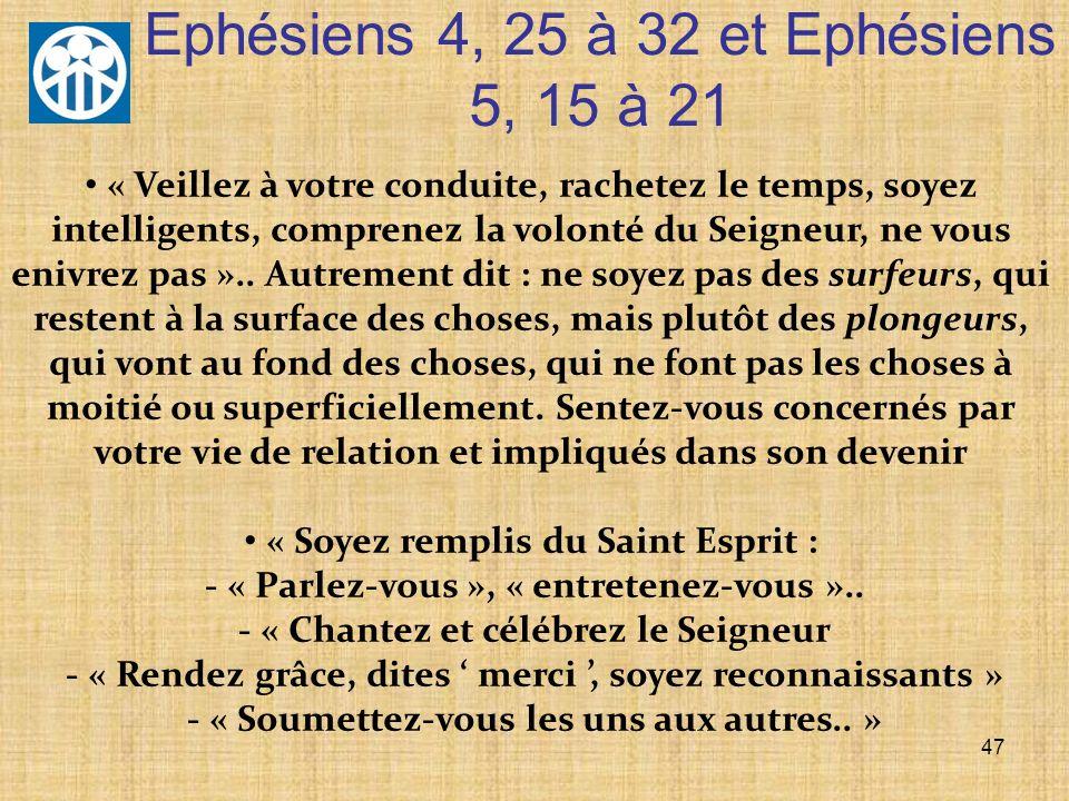 47 « Veillez à votre conduite, rachetez le temps, soyez intelligents, comprenez la volonté du Seigneur, ne vous enivrez pas ».. Autrement dit : ne soy