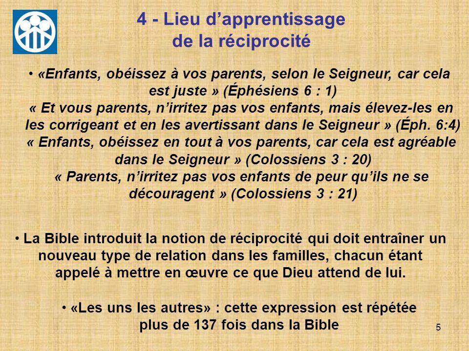 5 4 - Lieu dapprentissage de la réciprocité La Bible introduit la notion de réciprocité qui doit entraîner un nouveau type de relation dans les famill